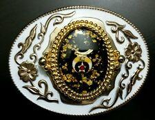 Cowboy White Enamel Gold Accent Sword Crescent Moon Star Logo Cowboy Belt Buckle