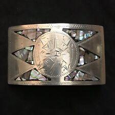 Belt Buckle. Vintage Alpaca Silver/Abalone