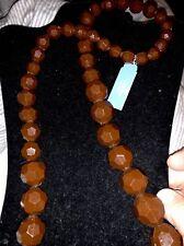 NWT Vera Wang Simply Vera NECKLACE Brown Gloss Long Bead Graduated Bead Size