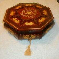 Vintage Sorrento Inlaid Wood Jewelry Box Italy w Key music box Does Not work