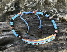 Boho Vegan Blue Friendship Bracelet- beaded pura vida surfer hippie beach