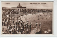 Lots Of People Sea Bathing Lake Southport 1933 Real Photograph Valentines 220997