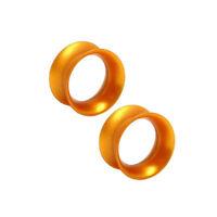Thin Silicone Ear Plugs Tunnels Ear Earlets Gold metallic Flexible Expander