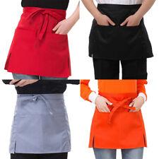 Short Waist Apron 3 Pocket Half Size Restaurant Bar Waiter Waitress Cafe  Pop