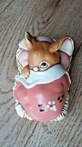 Pendelfin Rabbit Peeps Pink Bunny in Bed - Lovely Vintage Stonecraft Made in UK