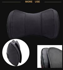 Universal 2 Pcs Black Leather Auto Car Truck Neck Rest Headrest Pillow Cushion