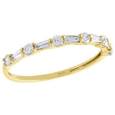 Stackable Right Hand Ring 3/8 Ct 10K Yellow Gold Baguette Diamond Slender Design