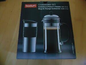 Bodum Chambord Kaffeebereiter 1L + Thermobecher 0,35L Edelstahl Set neu