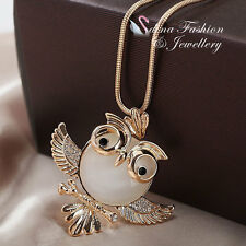 18K Gold Plated Simulated Opal & Diamond Cute Owl Long Necklace Jewellery