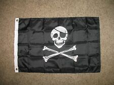 2x3 Jolly Roger Pirate Skull and Bones With Patch SuperPoly Flag 2'x3'