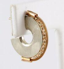 Tension Princess Stone Hoop Earrings Tomasz Plodowski Sterling Silver 14K Gold