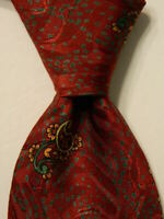 PAPILLON Men's 100% Silk Necktie ITALY Luxury PAISLEY Burgundy/Green/Yellow EUC