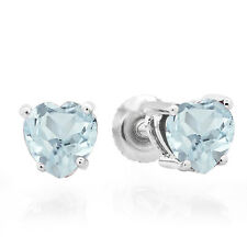 1.00 CT 14K White Gold Heart Shape Natural Aquamarine Ladies Stud Earrings