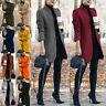 Women Long Sleeve Blazer Work Jacket Formal Overcoat Woolen Trench Cardigan Coat