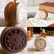 Great Wooden Rubber Stamp Seal Classic Alarm Clock For Diary Scrapbook DecorsT