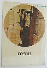 BOAC Airline  Menu  London- New York Temple Of  Karnak Upper Egypt Cover 1968