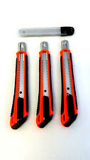 Utility Knife 9mm Set of 3 with Spare Blades Pk 10