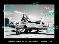 OLD POSTCARD SIZE PHOTO OF DOMINICAN REPUBLIC AIR FORCE LOCKHEED JET PLANE 1955
