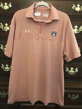 Under Armour Auburn University Men Orange Grey Striped Polo Shirt Size XL