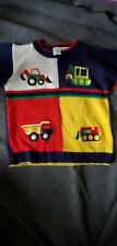 4T Vintage Sesame Street Sweater Primary Color Block Construction Vehicles