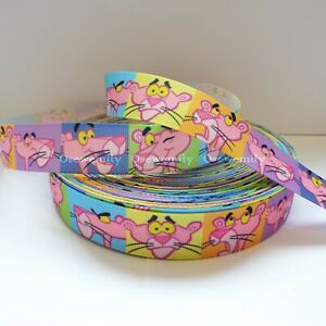 Per Metre - Pink Panther 22mm Printed Grosgrain Ribbon / Party Cake/ Hair Bow