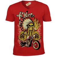 Indien Rider T-Shirt Moto Motard Crâne Chef Hommes Col V