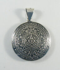 "925 sterling silver double-domed Aztec calendar pendant 1 1/2"" diameter"