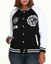 COOGI Womens Varsity Jacket Black and White Women Size 3X XXXL Extra Extra Large