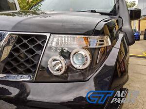 LED ANGEL-EYES Black HeadLight for PathFinder R51 Nissan Navara D40 CLR