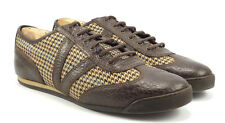 Louis Vuitton Authentic Men's Leather & Tweed Sneakers Brown Sz 9 , US 10 Shoes