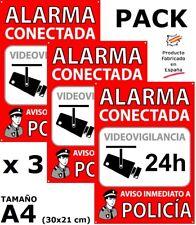 3 Carteles Alarma Conectada Seguridad Disuasorios A4 Interior Exterior 30x21cm.