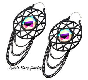 Web Chain Large Gem * Black Plated * 20g Plug Hoops Gauges Hangers Earrings