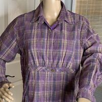 Woolrich Womens Shirt Top Snap 1 Button Purple Sage Crinkle Plaid Outdoor M