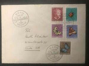 Schweiz 1952 Ersttagsbrief Satz Pro Juventute Insekten Schmetterlinge Anker