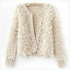 Brand New Wool Blend Knitted Plush Jacket With Sequins Size 10-12