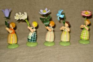 Vtg Lot 5 Erzgebirge FLOWER GIRLS Made in GDR Germany Carved Wood