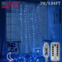 300 LED Curtain Fairy String Light Cooper Wire Light Windows USB  Hanging Remote