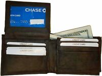 New Man's Bi fold Leather Wallet 12 Credit Cards 2 IDs 2 Sued lined Billfolds BN