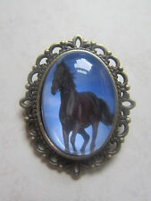 Vintage Bronze Plated Black Horse Design Brooch New in Gift Bag Equestrian Xmas