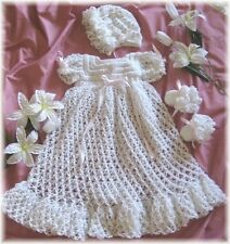 "CROCHET PATTERN for   ""PEACE & LOVE"" Christening Set   by REBECCA LEIGH--NB/3 MO"