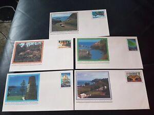1981 Norfolk Island Pre Stamped Envelopes Pictorial Definitives Set of 5
