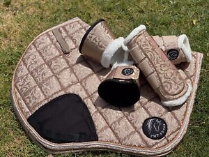 Saddle Pad, Dressage and Jump Cut, Full, Champagne Embossed - Pimp My Pony