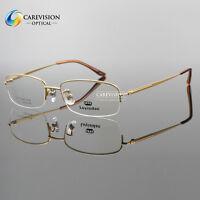 New Titanium Designer Men's Half Rimless Eyeglasses Frames Optical Eyewear RX