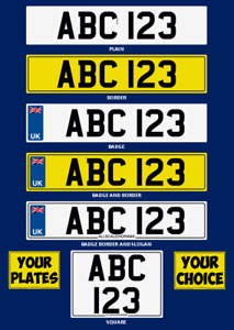 1/50th SCALE PERSONALISED NUMBER PLATES FOR  DIORAMA OR MODEL