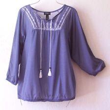 NEW~Denim Chambray Blue & White Peasant Blouse Shirt Boho Top~16/18/14/XL