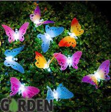 NUEVO 12 Mariposa Fibra Óptica Cuerda Jardín Solar Exterior GUIRNALDA LUCES