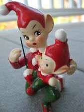 Vintage Josef Originals Figurines Christmas Elf Pixie Candy Cane Present Japan