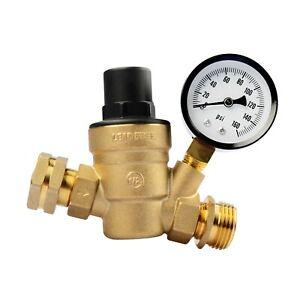 RV Adjustable Water Pressure Regulator With Gauge for Camper Brass Lead Free LCW