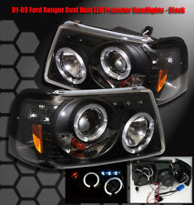 2001-2011 FORD RANGER DUAL HALO LED PROJECTOR HEADLIGHTS LAMP BLACK PICKUP TRUCK