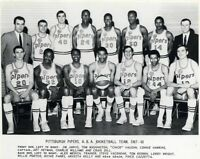 ABA 1967 - 68 Pittsburgh Pipers Black & White Team Pic 8 X 10 Photo